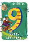 Ling design - kids Happy Birthday card - Monkey - 9 Today