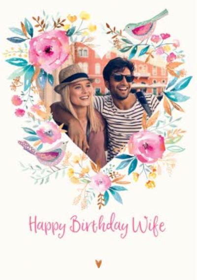 Watercolour Flowers And Birds Happy Birthday Wife Traditional Photo Card