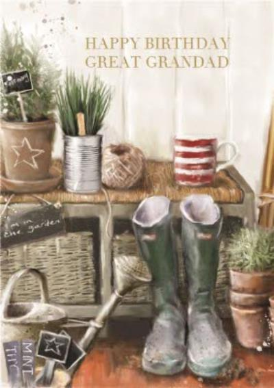 Garden Hut Personalised Great Grandad Birthday Card