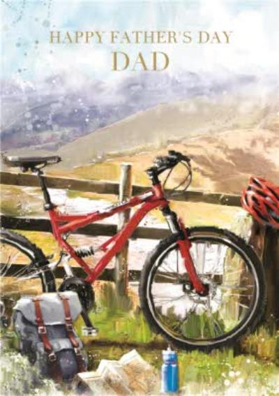 Cycling In The Mountains Personalised Father's Day Card
