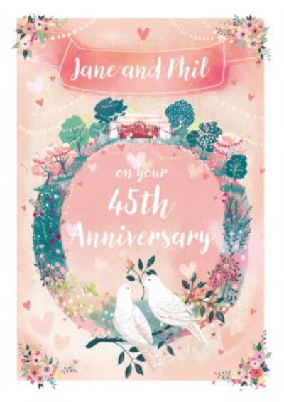 Floral Wreath And Loving Doves 45th Anniversary Card