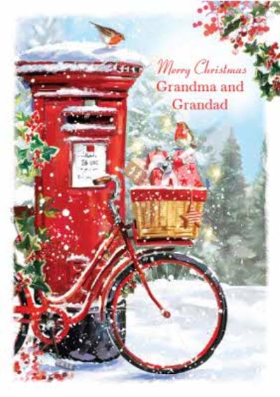 Traditional Post Box Christmas Card for Granny And Grandad