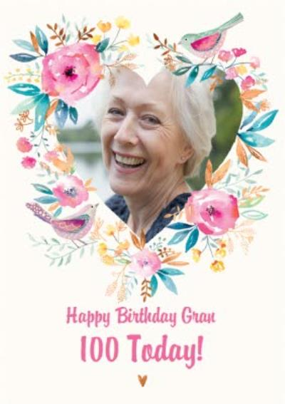Traditional Flowers And Birds 100th Birthday Photo Upload Card For Gran
