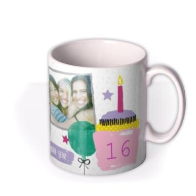 Happy Birthday Doodles White Photo Upload Mug