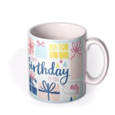 Pastel Presents Birthday Personalised Text Mug