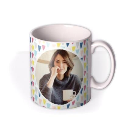 Pastel Triangles Custom Text Photo Birthday Mug