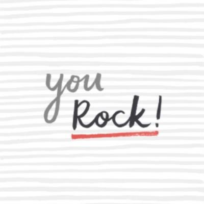Grey Striped You Rock Card