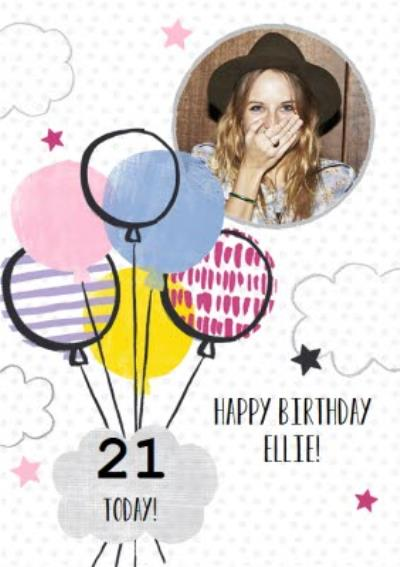 Multi-Patterned Balloons Happy 21st Birthday Card