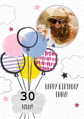 Balloons And Clouds Personalised Photo Upload Happy 30th Birthday Card