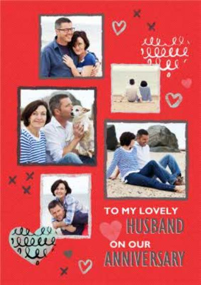 Red And Grey Squiggles Personalised Photo Upload Happy Anniversary Card For Husband
