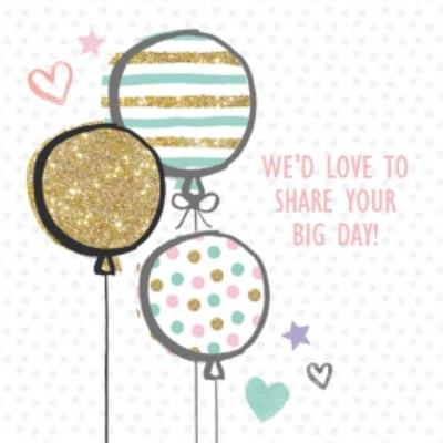 Sparkly Balloons Your Big Day Personalised Card