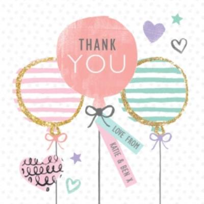 Striped Balloons And Pink Balloon Personalised Thank You Card
