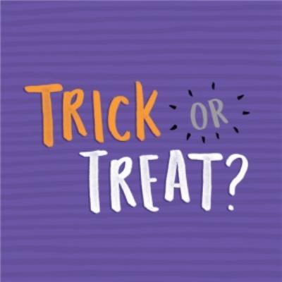 Bright Purple Trick Or Treat Halloween Card