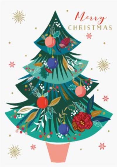 Floral Christmas Tree Merry Christmas Card