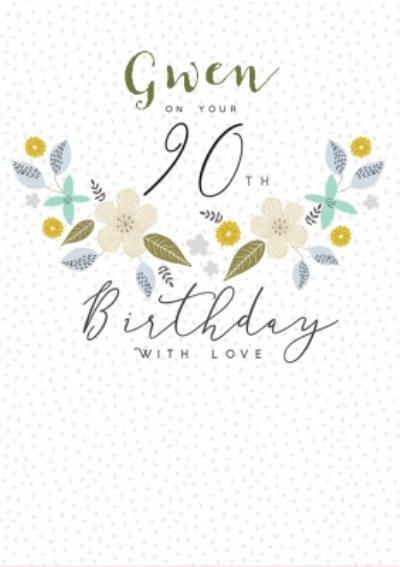 Floral 90th Birthday Card