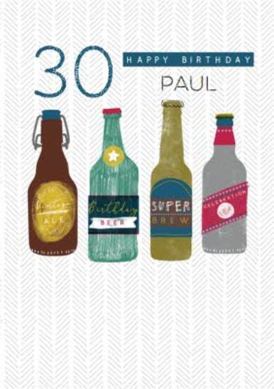 Illustrated Beer Bottles 30th Birthday Card
