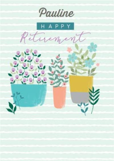 Illustrated Garden Plant and Pots Retirerment Card