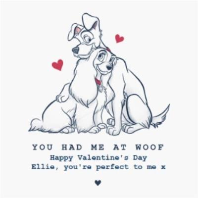 Disney Lady And The Tramp Valentines Day Card You had me at Woof