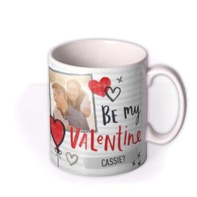 Valentine's Day Heart Striped Photo Upload Mug