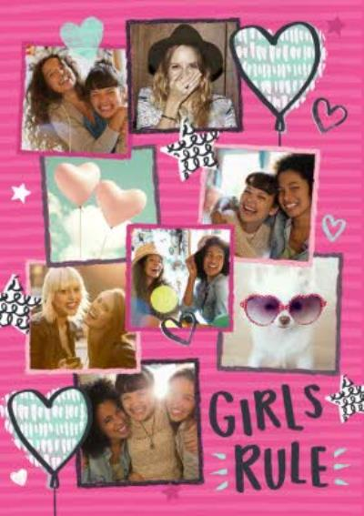 Pink Stripes Girls Rule Personalised Photo Upload Birthday Card