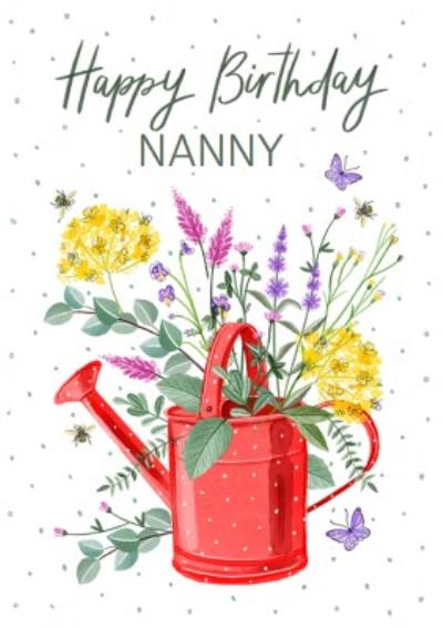 Pretty Birthday Floral Watering Can Card