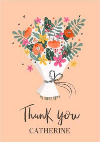 Illustrated Flower Bouquet Floral Thank You Card