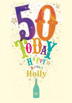 Colourful Bottle Popping Personalised Happy 50th Birthday Card