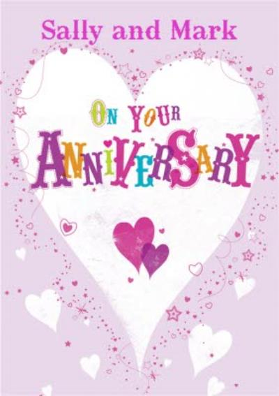 Hearts Explosion Personalised Happy Anniversary Card