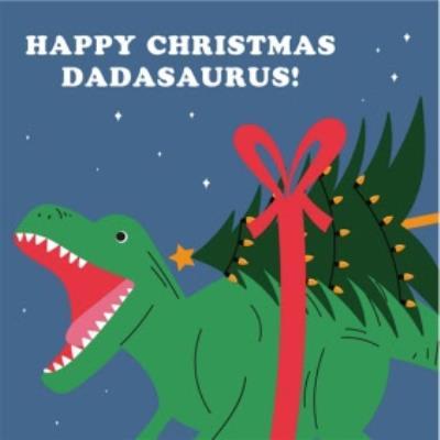 Cute Happy Christmas Dadasauras Card