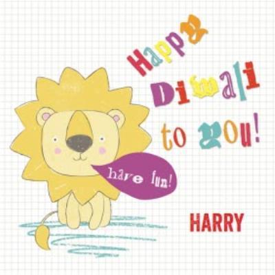 Little Lion Personalised Happy Diwali Card