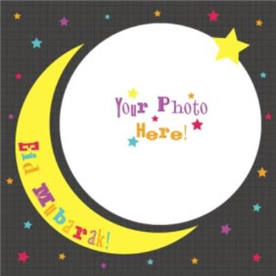 Cartoon Stars And Moon Eid Mubarak Photo Card