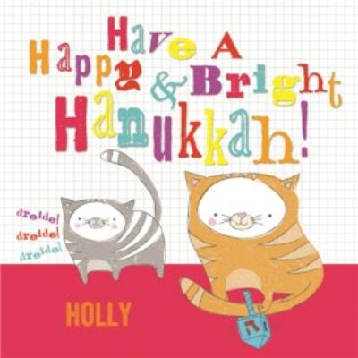 Happy And Bright Cats Personalised Happy Hanukkah Card