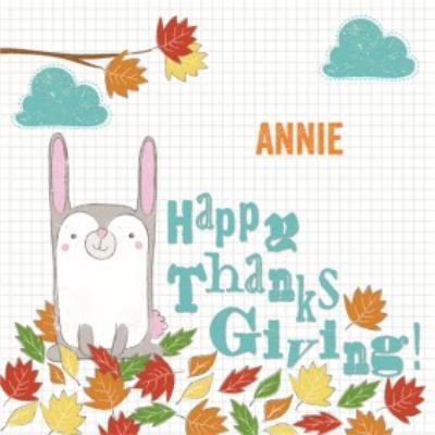 Cartoon Leaves Personalised Happy Thanksgiving Card