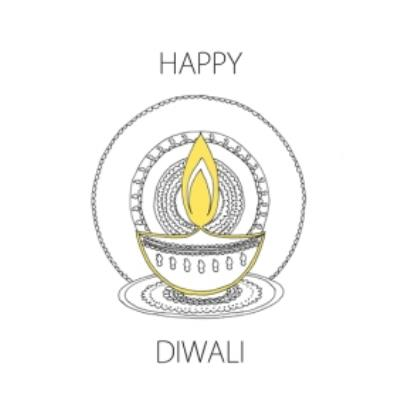 Illustrated Candle Personalised Happy Diwali Card
