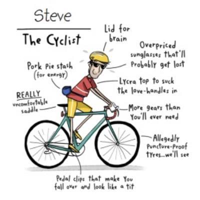 Funny The Cyclist Birthday Card