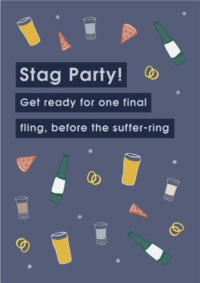 Stag Party Invite Illustrated Beer Shots Pizza Stag Do Card