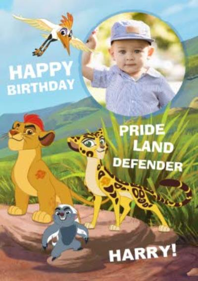 The Lion King Pride And Land Defender Personalised Photo Upload Happy Birthday Card