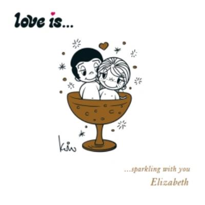 Ilustrated Couple Love Is Sparkling With you Card