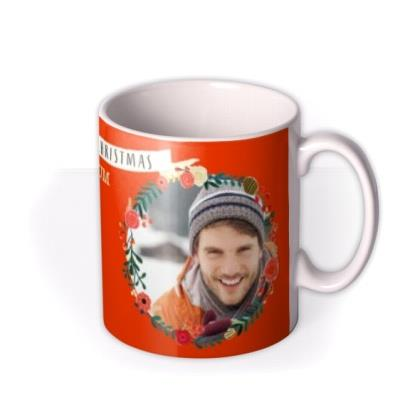Merry Christmas Wreath Photo Upload Mug