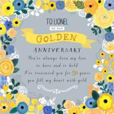 Sunshine Yellow Flowers Personalised Golden Anniversary Card