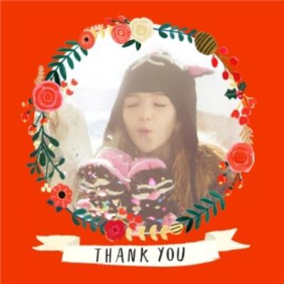 Festive Circular Frame Personalised Photo Upload Thank You Card