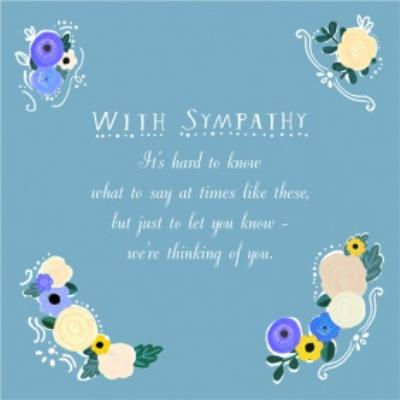 Blue With Floral Touches Personalised With Sympathy Card