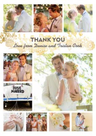 Wedding Thank You Card - Gold Foiled Flowers - Photo Upload
