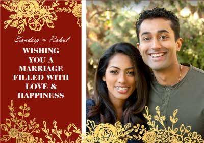 Wedding Card - Gold Foiled Flowers - Indian Wedding - Photo Upload
