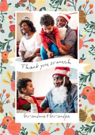 Le Jardin De Fleur Photo Upload Christmas Thank you Card for Grandma and Grandpa
