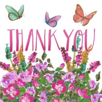 Butterflies Fluttering Above Flowers Personalised Thank You Card