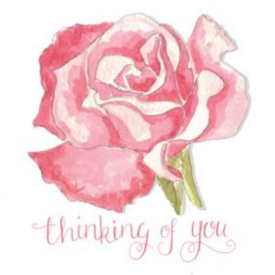 Watercolour Pink Thinking Of You Card