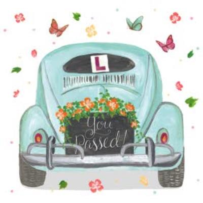 Car And Butterflies Personalised You Passed Card
