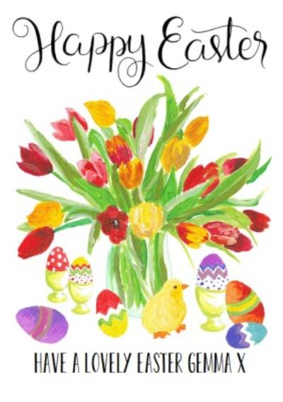 Springtime Bunch With Eggs And Chicks Personalised Happy Easter Card