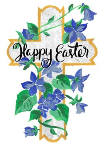 Cross And Bluebells Personalised Happy Easter Card